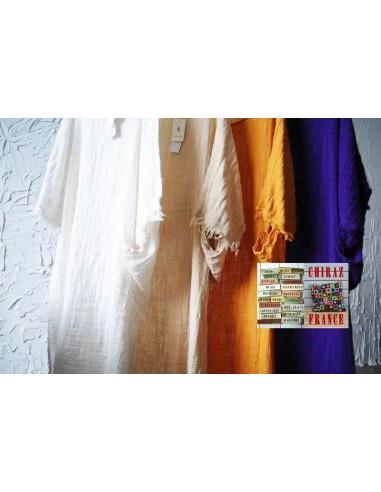 Longue chemise gaze graphique de lin boutonnée bords déchirés BLANC ou VIOLET idéal superposition fentes boho ethnique