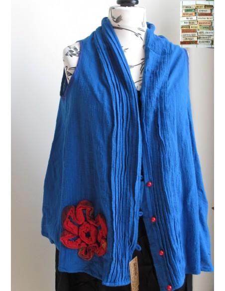 Gilet oversize sans manche lin crepon fleur rouge ethnique long large esprit artisan