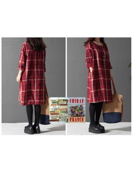 Chemise robe longue carreaux oversize de coton tartan bourgeon grand-père créateur boho folk