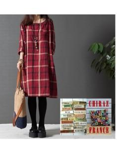 Chemise robe rouge longue carreaux oversize de coton tartan bourgeon grand-père créateur boho folk