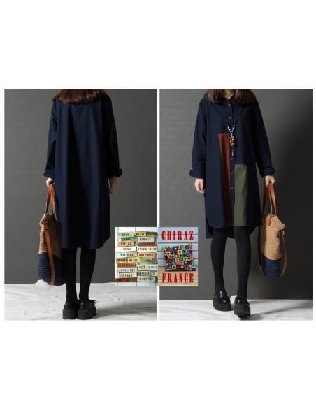 Chemise coton lin bleu ou kaki LIN aplats tissus sombres créateurs boho ethnique