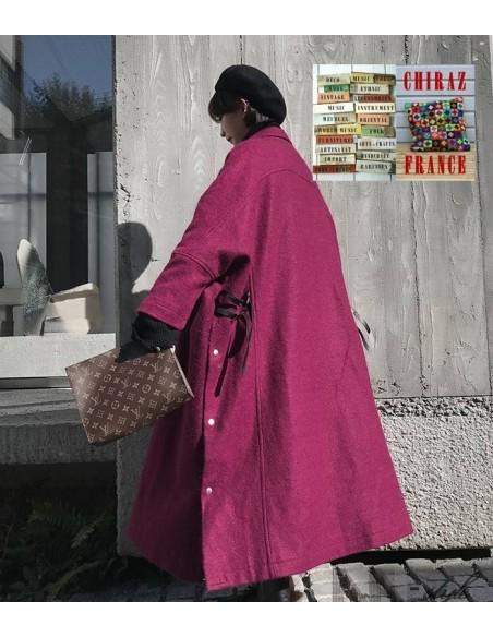 Manteau extra large grenat zippé designer laine doublé