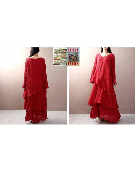 Robe longue coton gaufré MARINE ROUGE boho ethnique folk