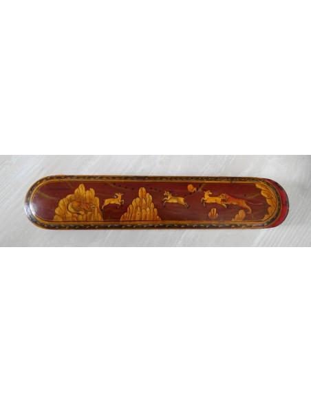 Encrier plumier peint main miniature safran scène de chasse Kadjar