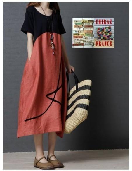 Robe longue bas coton rebrodé et haut noir jersey boho ethnique folk