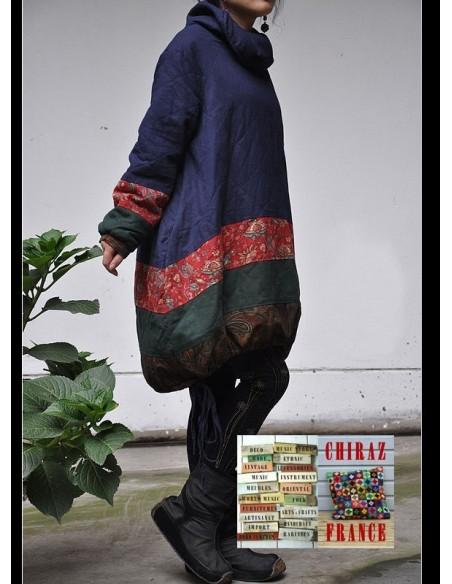 Tunique matelassée patchwork coupe trapèze bourgeon LIN boho ethnique folk XL