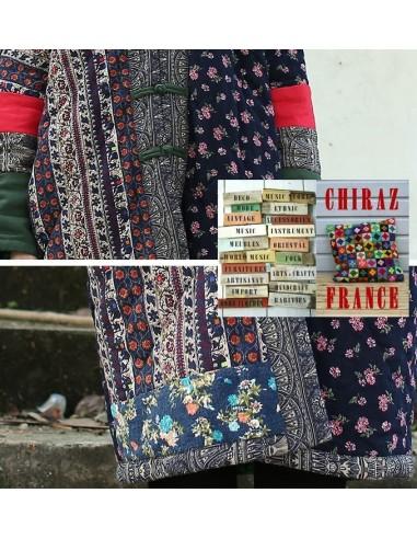 Manteau coton matelassé patchwork scrapbooking tissus trady boho artisan