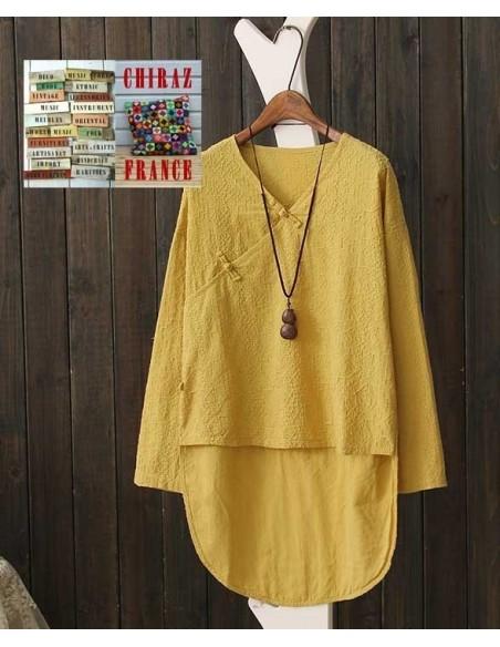 la vente de chaussures design élégant prix le plus bas Tunique coton jaune moutarde rebrodé col V pankou manches longues dos long  38 - 44