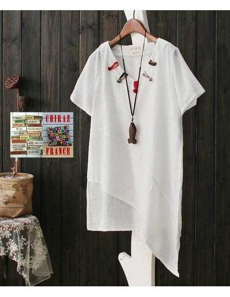 Tunique coton lin gaufré biais encolure V pattes manches courtes rouge, jaune ou blanc 38 - 44