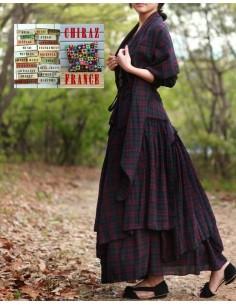 Jupe à volants déstructurée longue et large écossais madras foulard assorti flanelle coton ample boho rouge ethnique folk