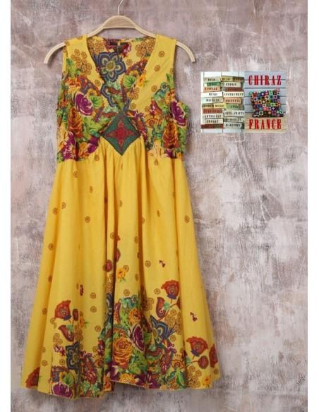Robe trapèze courte écusson bijou ample coupe A  boho ethnique folk XL