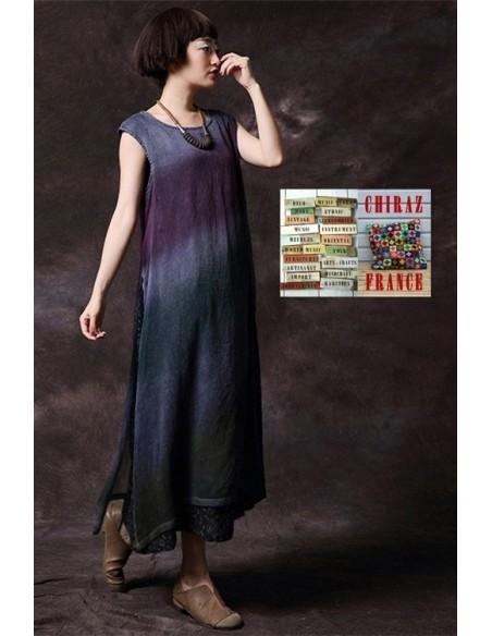 Robe longue sans manche tie dye superposition coupe trapèze voile de coton