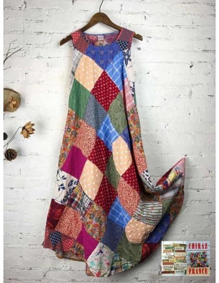Robe trapèze pièces BRUT FONCE vintage scrapbooking artisanal longue ample coupe PATCHWORK boho ethnique folk