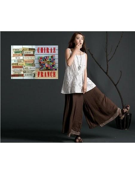 Pantalon long Pierrot double épaisseur mousseline superposition coupe large voile de coton
