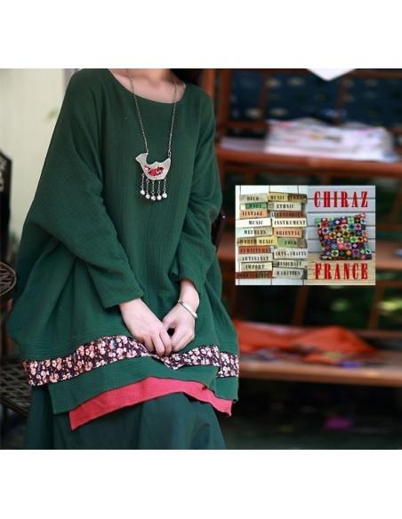 Tunique kaftan longue lin gaufré bandes bas franges fleuri déstructuré ethnique boho folk