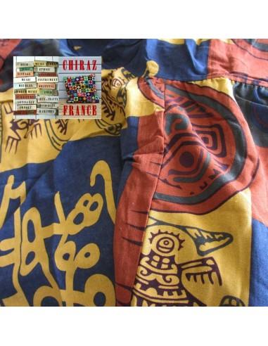 Pantalon large sarouel motifs ethniques colorés coton oversize XL boho ethnique folk