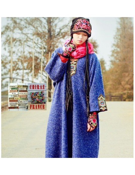 Robe pull longue tricot gaufré écusson brodé galon coupe trapèze djellaba XXL boho ethnique folk