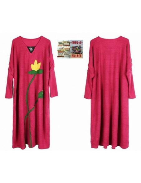 Robe pull longue tricot rebrodé fleurs coupe trapèze djellaba XL boho ethnique folk