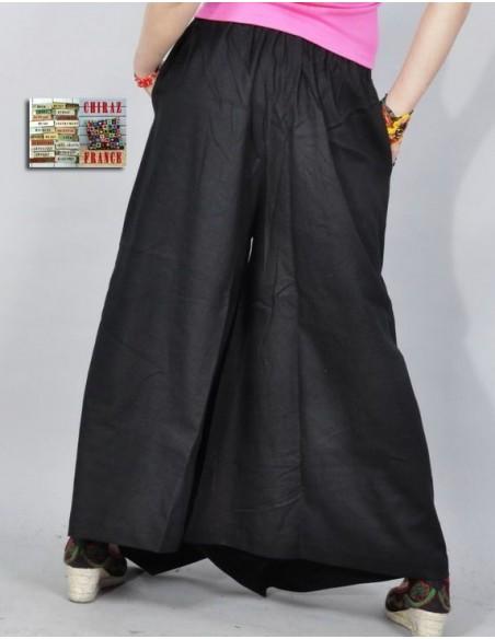Pantalon large broderie pompons couleurs LIN NOIR