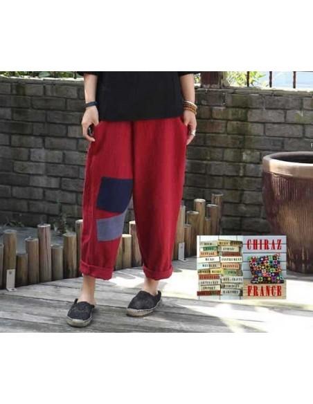 Pantalon baggy LIN léger NOIR ROUGE ou BORDEAUX pièces cousues boho ethnique créateur déstructuré