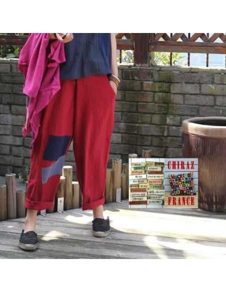 Pantalon baggy LIN léger BORDEAUX pièces cousues boho ethnique créateur déstructuré